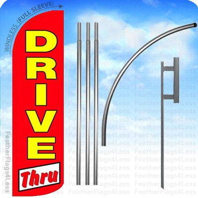 Drive Thru - Windless Swooper Flag 15 Kit Feather Banner Sign - Rq