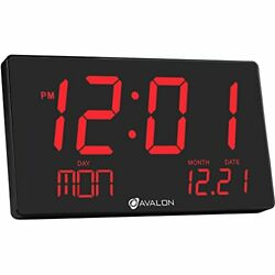 Avalon Extra Large LED Digital Wall & Shelf Clock- Easy To Read 3 inch digits
