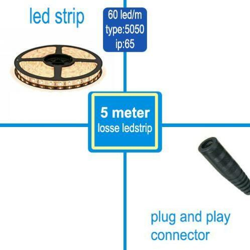 LED Strip 5050 60 LED/m Warm-Wit waterdicht IP65