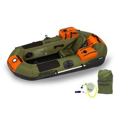 Sea Eagle PackFish7 Deluxe Frameless Inflatable Kayak Fishing Boat, Green (Used)