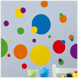 Polka Dot Wall Decals For Kids Rooms : CIRCLES-POLKA-DOTS-wall-stickers-31-big-decals-colorful-room-decor-red ...
