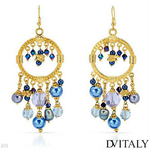 NEW DV ITALY CHANDELIER EARRINGS - CRYSTALS, FAUX PEARLS