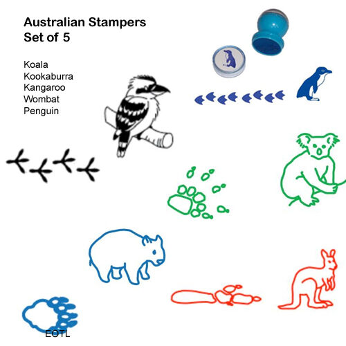 Stamps Stamp Set Kids Craft NEW Australian Animal Stampers Set of 5