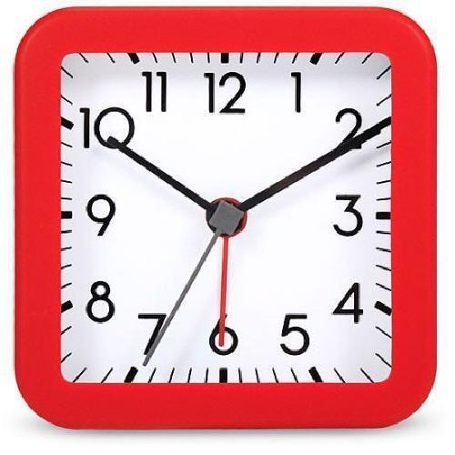 Square Quartz Analog Alarm Clock With Red Case - Spc748J