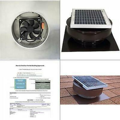 Roof Solar Powered Attic Fan Air Ventilation Mounted Exhaust Vent Coated 5 (Aluminum Roof Mounted Vent)