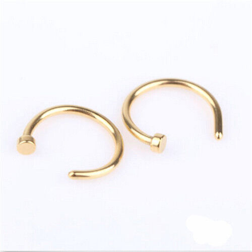 2pcs unique cool stainless steel nose open hoop ring