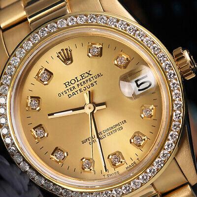 Rolex 18k Yellow Gold Presidential 31mm Watch Champagne Diamond Dial & Bezel