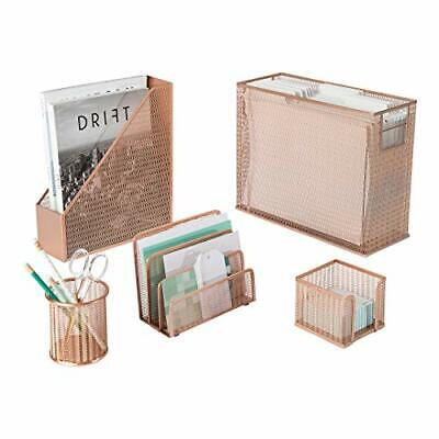 Blu Monaco 5 Piece Rose Gold Desk Organizer Set With Desktop Hanging File Holder
