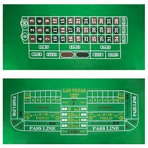 """Roulette & Craps Green Casino Gaming Table Felt Layout, 36"""" x 72"""""""