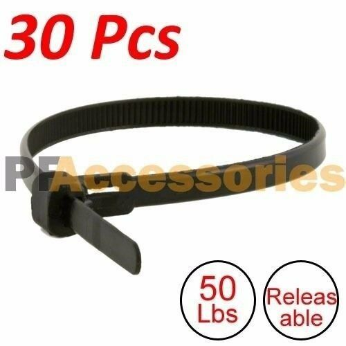 """30 Pcs 12"""" inch Heavy Duty Releasable 50 Lbs Nylon Cable Zip Ties Black Wire"""