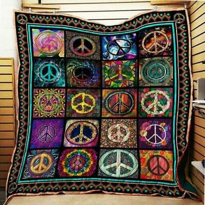 Hippie Peace Sign Fleece Blanket 50x60x80 Made In -
