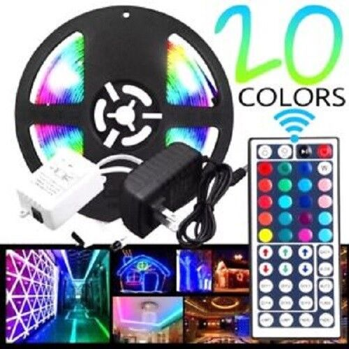 5M SMD RGB 5050 Waterproof 300 LED Strip Light 44 Key Remote 12V 5A Power Kit Car Electronics Accessories