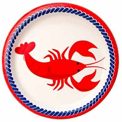 SUMMER Nautical Lobster LARGE PAPER PLATES (8) ~ Birthday Party Supplies Dinner - Nautical Paper Plates