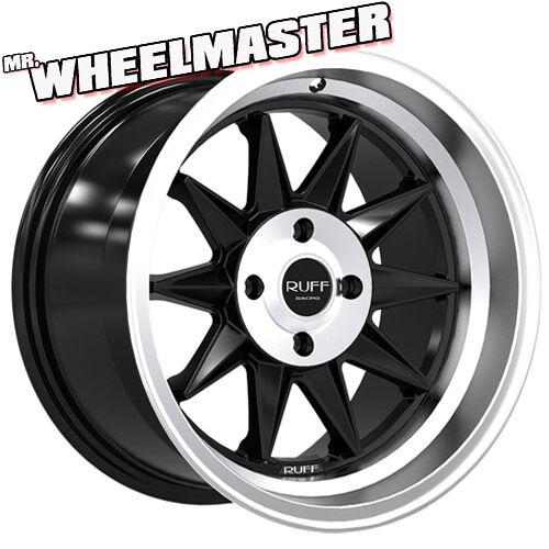 4 15 inch Wheels Ruff Racing 358 Rims 15x8 5 4x100 17 Satin Black Machine Lip