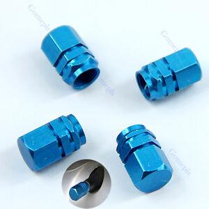 Blue 1 Set 4 PCS Hexagonal Tyre Wheel Ventil Valve Cap For Auto Car Truck