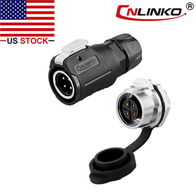 Cnlinko 4 Pin Power Connector Male Plug Female Socket Waterproof Outdoor Ip67