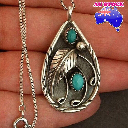 Jewellery - Genuine Silver Tone Turquoise Beads Black Wing Necklace