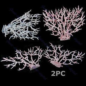 2pc fish tank faux artificial aquarium reef coral. Black Bedroom Furniture Sets. Home Design Ideas