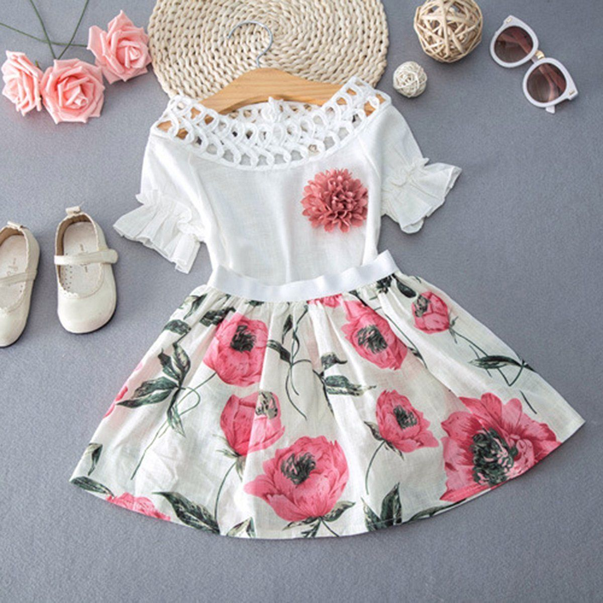 7a55e0780 Details about Kids Toddler Baby Girl Summer Outfit Set Clothes Lace Tops  +Floral Short Dress