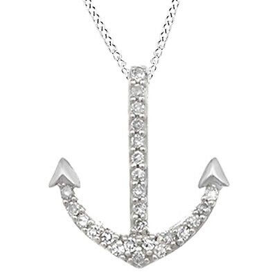 Image of 0 01 Ct Round Cut Diamond Accent Anchor Fashion Pendant Necklace 10K Solid Gold