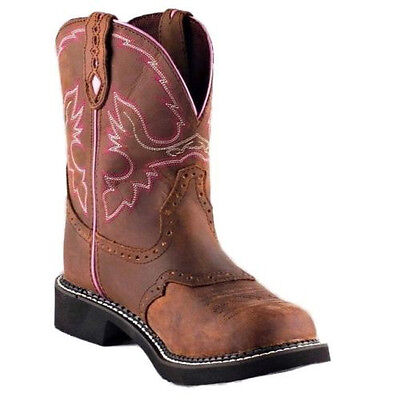 Ladies Aged Bark - Ladies Justin Gypsy Aged Bark with Pink Piping Boots L9903