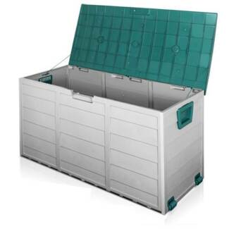 290L Plastic Outdoor Storage Box Container Weatherproof Grey Gree
