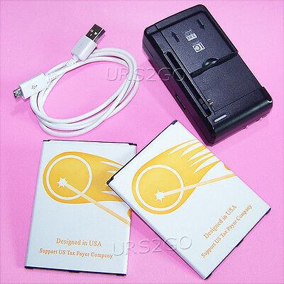 2x 5090mAh Battery Wall Charger Cable For Samsung Galaxy Mega 6.3 SGH-I527 I9200