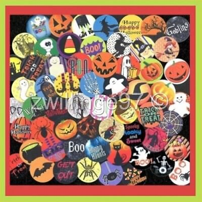 100 Precut assorted HALLOWEEN BOO BOTTLE CAP IMAGES Variety Mix 1 inch circles ](Halloween Boo Mix)