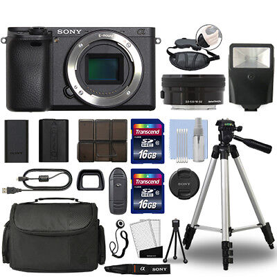 Sony Alpha a6500 Mirrorless 4K Digital Camera & 16-50mm Lens Black + 32GB Bundle