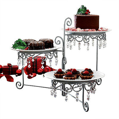 Luxury Dessert Stand Holder Beaded Silver Swivel Cake Wedding Party Server 3Tier
