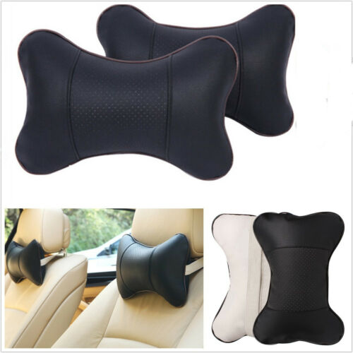 2 Pcs Soft Decompress Black PU Leather Car SUV Seat Headrest Neck Pillow Cushion