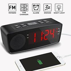 Clock Radios Digital FM Alarm Radio Clock USB Charging PortLED Display