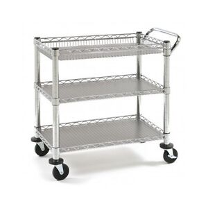 Stainless Steel Rolling Kitchen Island Cart Mobile Table Wheels Office Utility Ebay