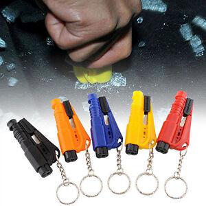Proper Emergency Rescue Glass Breaker Seat Belt Cutter Hammer Keychain Gift
