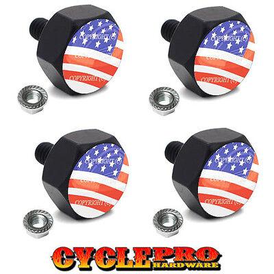 4 Black Billet Hex License Plate Frame Tag Bolts USA FLAG - 021