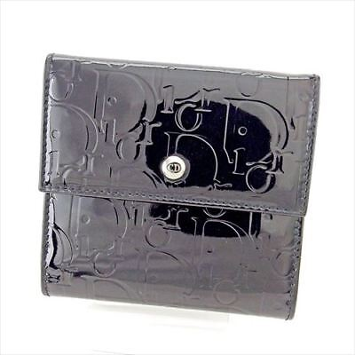 Dior Wallet Purse Folding wallet Black Silver Woman Authentic Used T5522 for sale  Shipping to United Kingdom