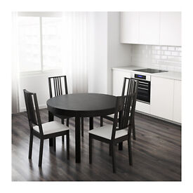 Elegant IKEA Round Extendable Dining Table and Chairs (seats up to 6 people)