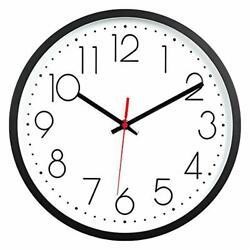 Kingrol 12-Inch Black Wall Clock, Silent Non Ticking Quality Quartz Clock Easy