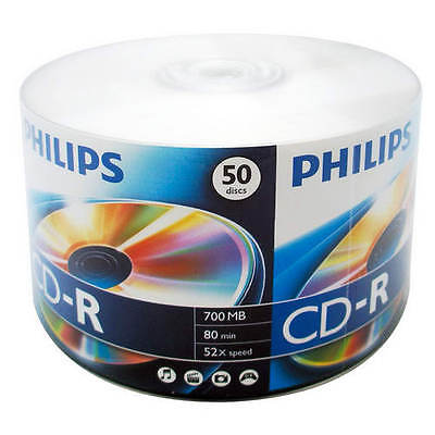 50 PHILIPS Logo 52X CD-R CDR Blank Disc Recordable Media 80Min 700MB