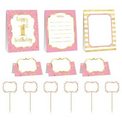 1st BIRTHDAY Pink and Gold BUFFET DECORATING KIT (12pc) ~ First Party Supplies - Pink And Gold Birthday Party Supplies