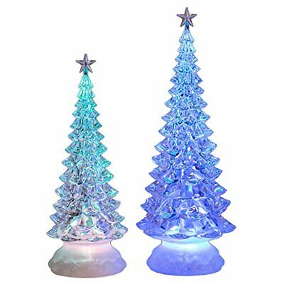 LED Clear Soft Blue and Red Assorted Christmas Tree Sculpture Figurine Set