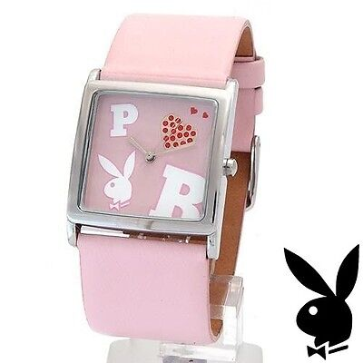 (NEW RARE Playboy Watch S Pink Leather Ladies Stainless Steel Quartz Women Silver)