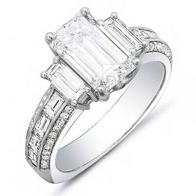 2.40 Ct. Emerald Cut, Baguette & Round Diamond Engagement Ring 14K H, IF GIA