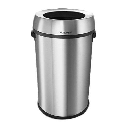 Stainless Steel Open Top Indoor Trash Can, 17 Gallon