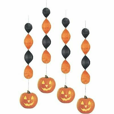 👻🎃PUMPKIN HALLOWEEN GLOW DECORATION 4 Pack Hanging Party - Halloween Glow Pack