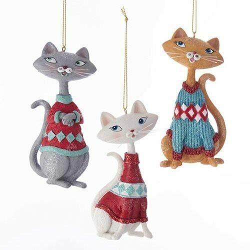 Kurt Adler - Mid-Century Style Cat 4 1/2-Inch Ornament - Set of 3