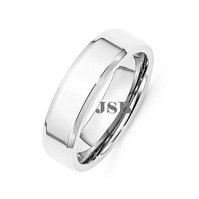 Stainless Steel Wedding Engagement Band 6MM Flat Beveled Edge Silver Polish Ring