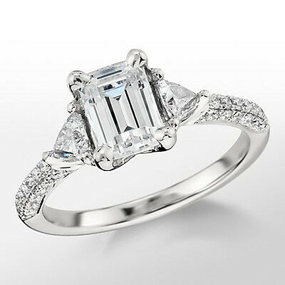 3 Stone 2.15 Ct Emerald Cut With Trillion Diamond Engagement Ring GIA F, VS1