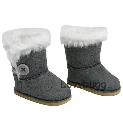 "Lovvbugg Gray Button Shearling Ewe Uggly Boots for 18"" American Girl or Boy or Bitty Baby Doll Shoes"