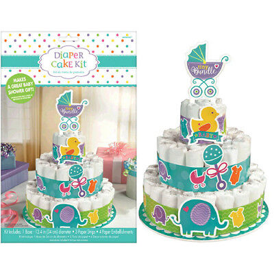 BABY SHOWER Tiny Bundle DIAPER CAKE KIT (8pc) ~ Party Supplies Gender Neutral - Diaper Cake Supplies